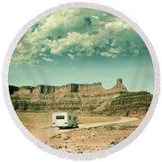 Round Beach Towel featuring the photograph White Rv In Utah by Jill Battaglia