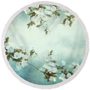 White Sakura Blossoms Round Beach Towel