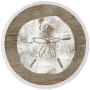 White Sand Dollar- Art By Linda Woods Round Beach Towel