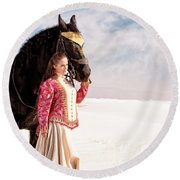 White Sands Horse And Rider #2a Round Beach Towel