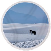 White Sands Horse And Rider #5b Round Beach Towel