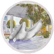White Sculpture In Santa Monica Blvd., Beverly Hills, California Round Beach Towel by Carlos G Groppa