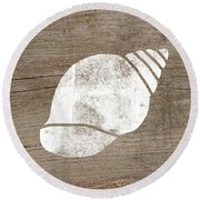 White Seashell- Art By Linda Woods Round Beach Towel