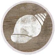White Seashell- Art By Linda Woods Round Beach Towel