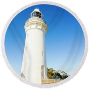 White Seaside Tower Round Beach Towel