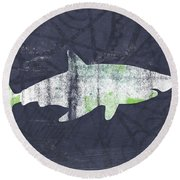 White Shark- Art By Linda Woods Round Beach Towel