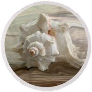 White Shell Round Beach Towel
