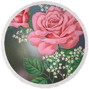 White Small Flowers And Roses Round Beach Towel