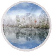White Space Round Beach Towel
