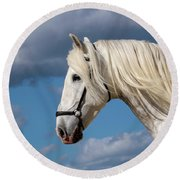 White Stallion Round Beach Towel