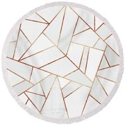 White Stone And Copper Lines Round Beach Towel