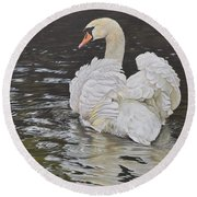 Round Beach Towel featuring the painting White Swan by Alan M Hunt