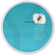 White Swan Blue Lake Round Beach Towel