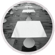 White Tables Round Beach Towel