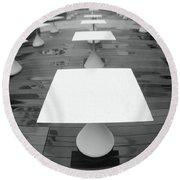 White Tables Round Beach Towel