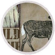 White Tail Deer Wild Game Rustic Cabin Round Beach Towel