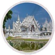 White Temple Thailand Round Beach Towel