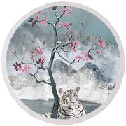 White Tiger And Plum Tree Round Beach Towel