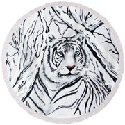 White Tiger Blending In Round Beach Towel