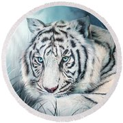 Round Beach Towel featuring the mixed media White Tiger - Spirit Of Sensuality by Carol Cavalaris