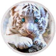 White Tiger Cub Round Beach Towel by Sergey Lukashin