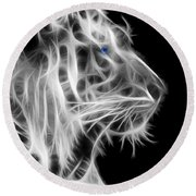 Round Beach Towel featuring the photograph White Tiger by Shane Bechler
