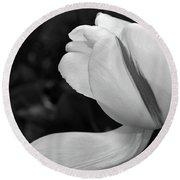 White Tulip In Black And White Round Beach Towel by Nadalyn Larsen