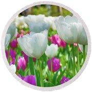 White Tulips 71116 Round Beach Towel