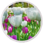 White Tulips 71116 Round Beach Towel