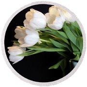 White Tulips In Blue Vase Round Beach Towel by Julia Wilcox