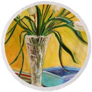 White Tulips In Cut Glass Round Beach Towel