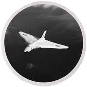 Round Beach Towel featuring the digital art White Vulcan B1 At Altitude Black And White Version by Gary Eason