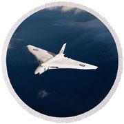 Round Beach Towel featuring the digital art White Vulcan B1 At Altitude by Gary Eason