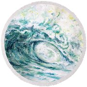 White Wash Round Beach Towel