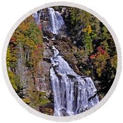 Round Beach Towel featuring the photograph White Water Falls by John Gilbert