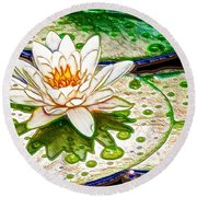 Round Beach Towel featuring the painting White Water Lilies Flower by Lanjee Chee