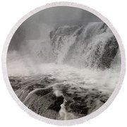 Round Beach Towel featuring the photograph White Water by Raymond Earley