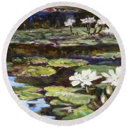 White Waterlilies In Tower Grove Park Round Beach Towel by Irek Szelag