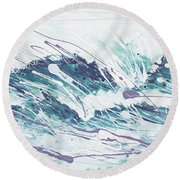 White Wave Abstract Round Beach Towel