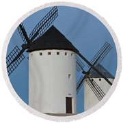 Round Beach Towel featuring the photograph White Windmills by Heiko Koehrer-Wagner