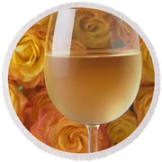 White Wine And Yellow Roses Round Beach Towel