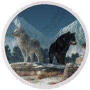 Round Beach Towel featuring the digital art White Wolf, Black Wolf by Daniel Eskridge
