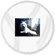 Round Beach Towel featuring the mixed media White Wolf by Charles Shoup