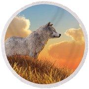 Round Beach Towel featuring the digital art White Wolf by Daniel Eskridge