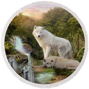 White Wolf Falls2 Round Beach Towel