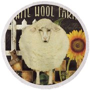 White Wool Farms Round Beach Towel by Mindy Sommers