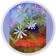 White Zinnias Round Beach Towel