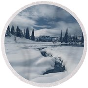 Whiteout Round Beach Towel