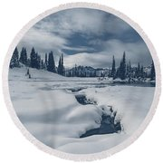 Round Beach Towel featuring the photograph Whiteout by Gene Garnace