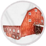 Round Beach Towel featuring the painting Whiteout On The Farm Blizzard Stella by Edward Fielding